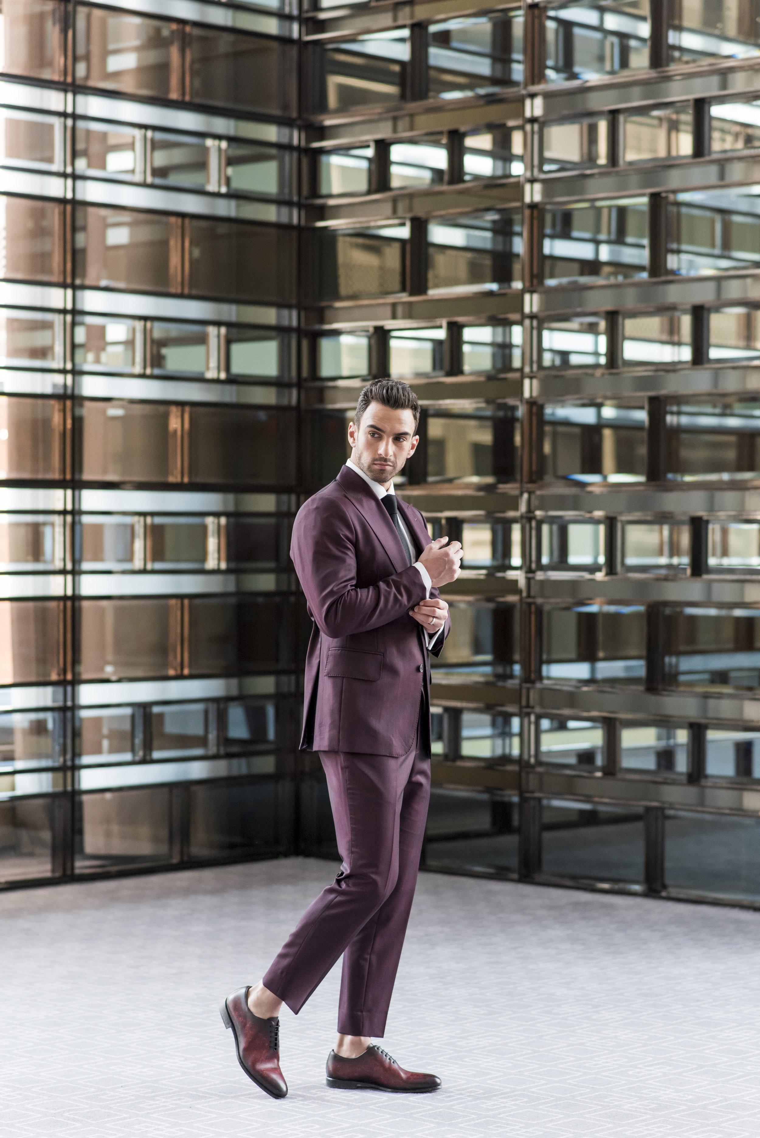 August In Bloom - Groom in maroon suit - The Suited Groom (The Bridal Affair)