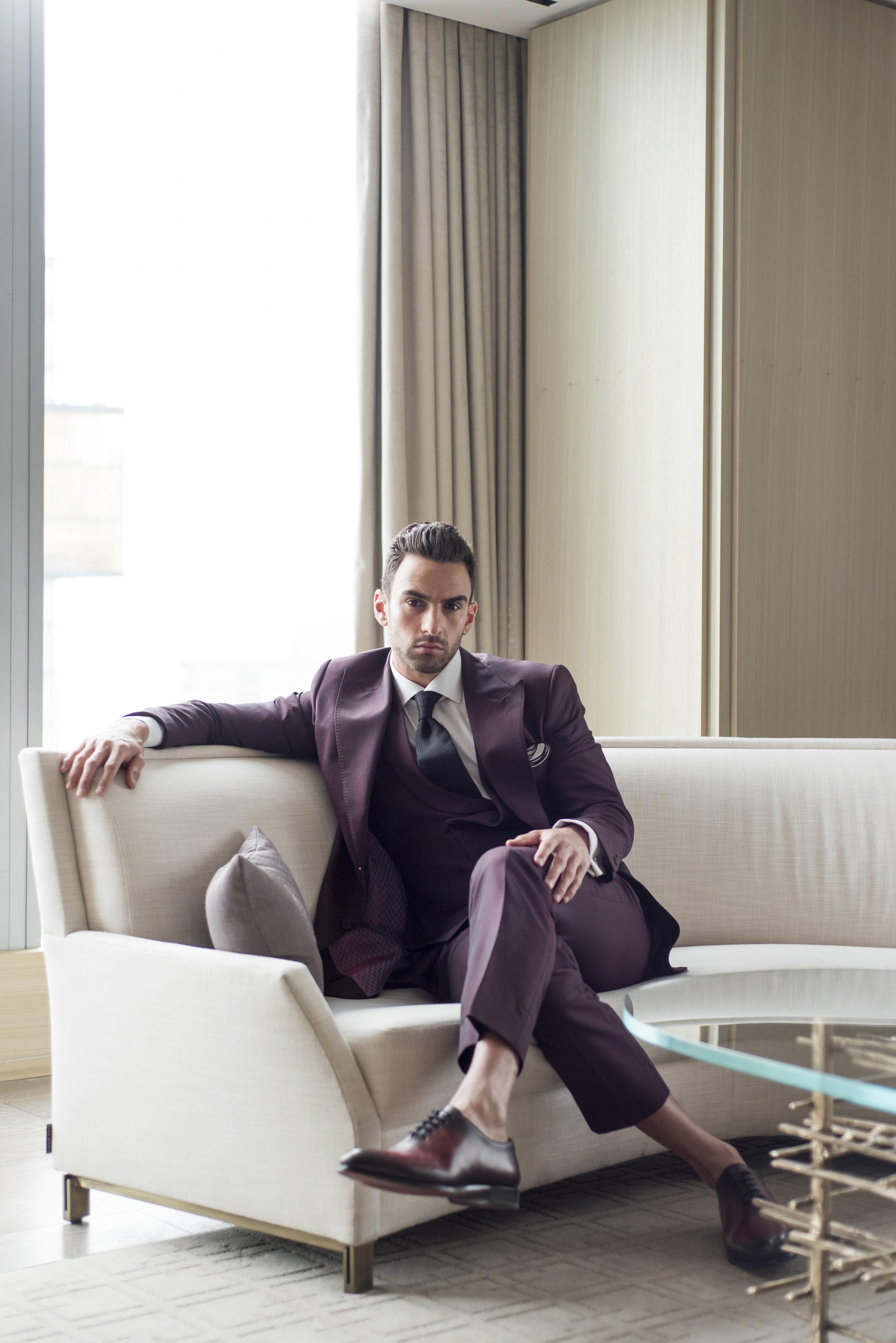 August In Bloom - Groom in maroon suit - The Suited Groom