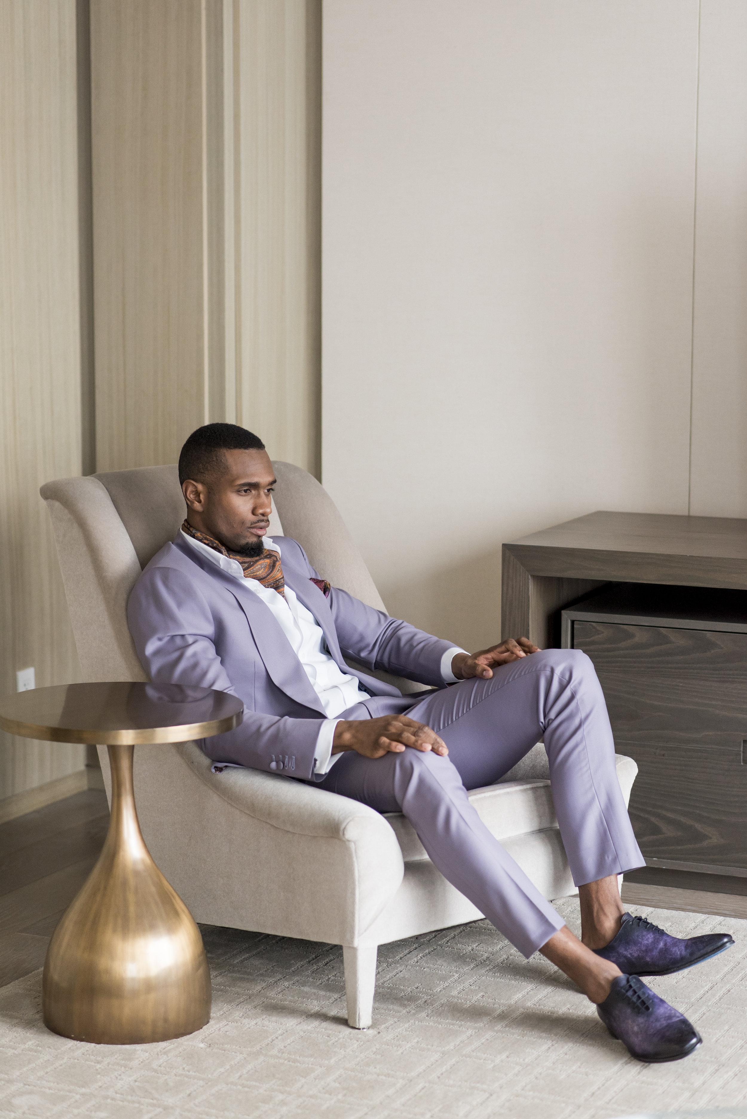 August In Bloom - Groom in purple suit - The Suited Groom