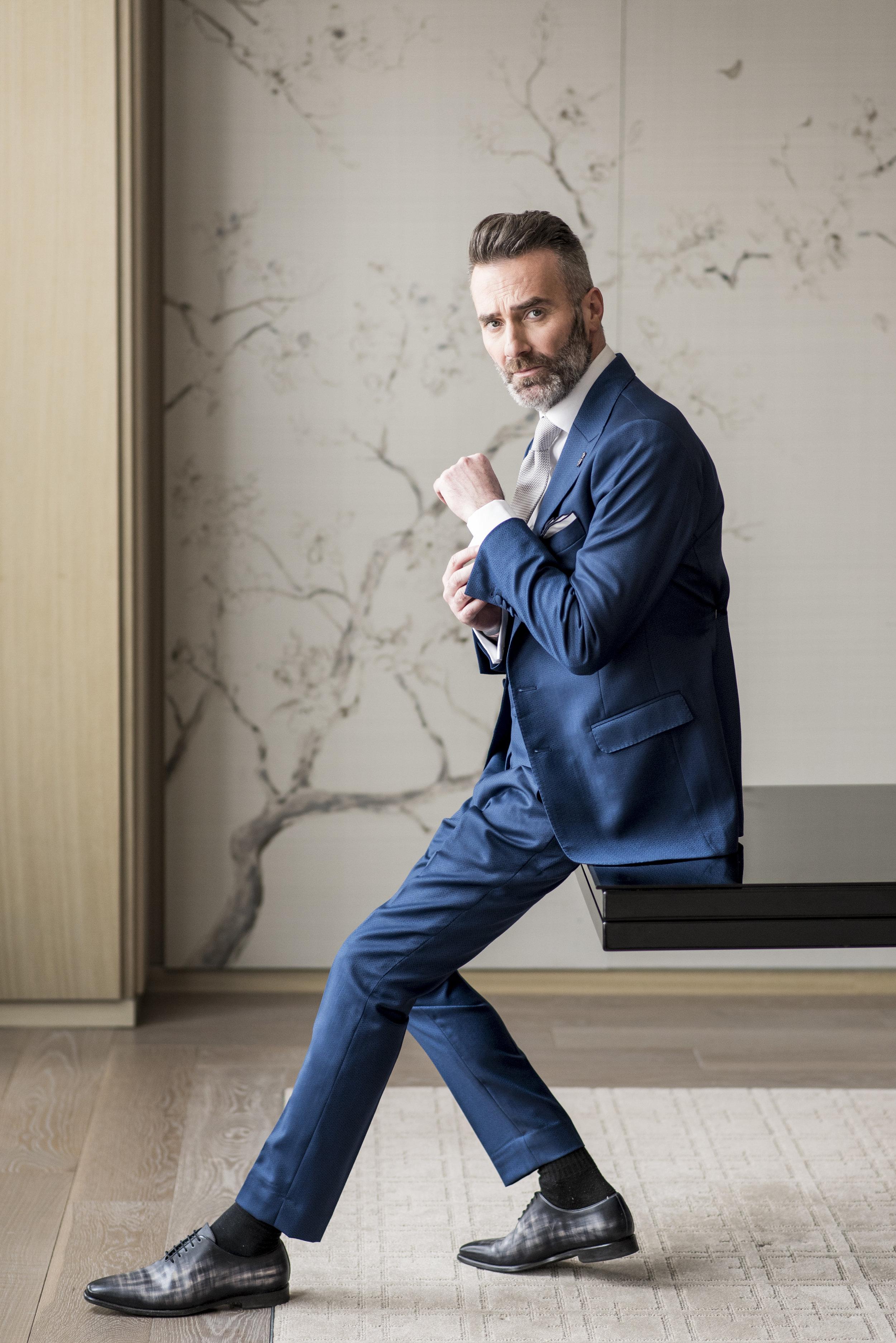 August In Bloom - Groom in blue suit - The Suited Groom
