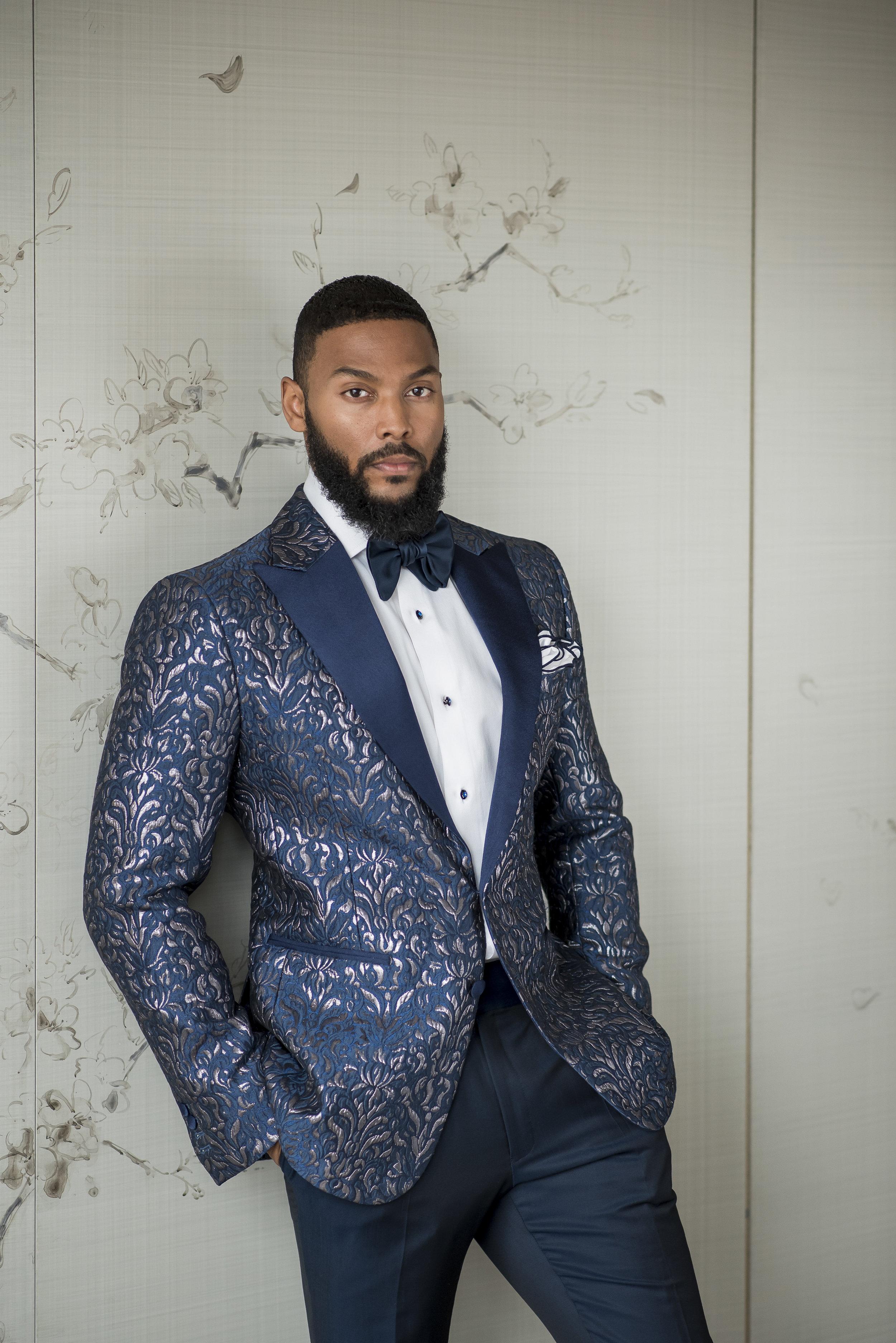 August In Bloom - Groom in blue patterned suit - The Suited Groom