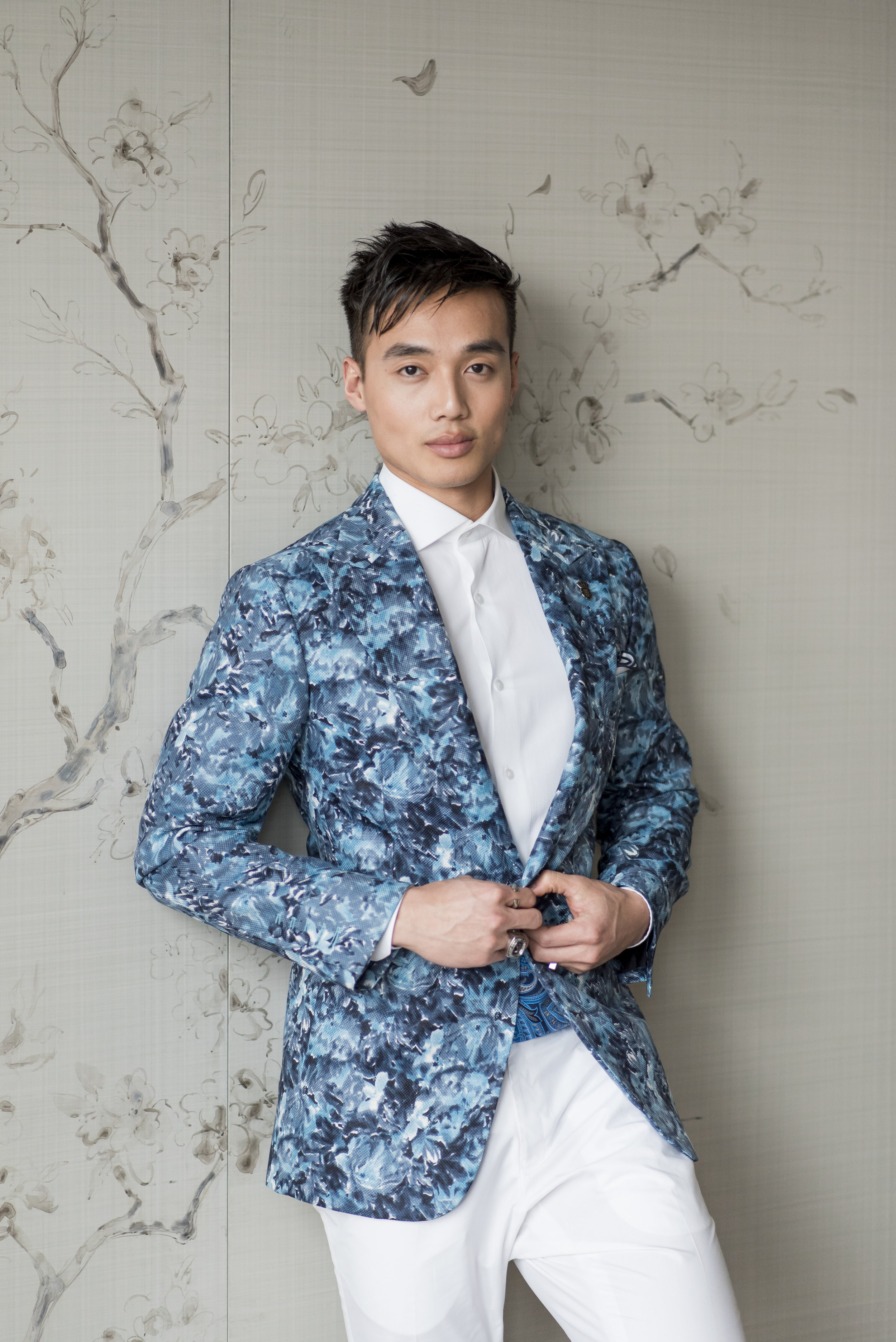 August In Bloom - Groom in blue and white suit - The Suited Groom