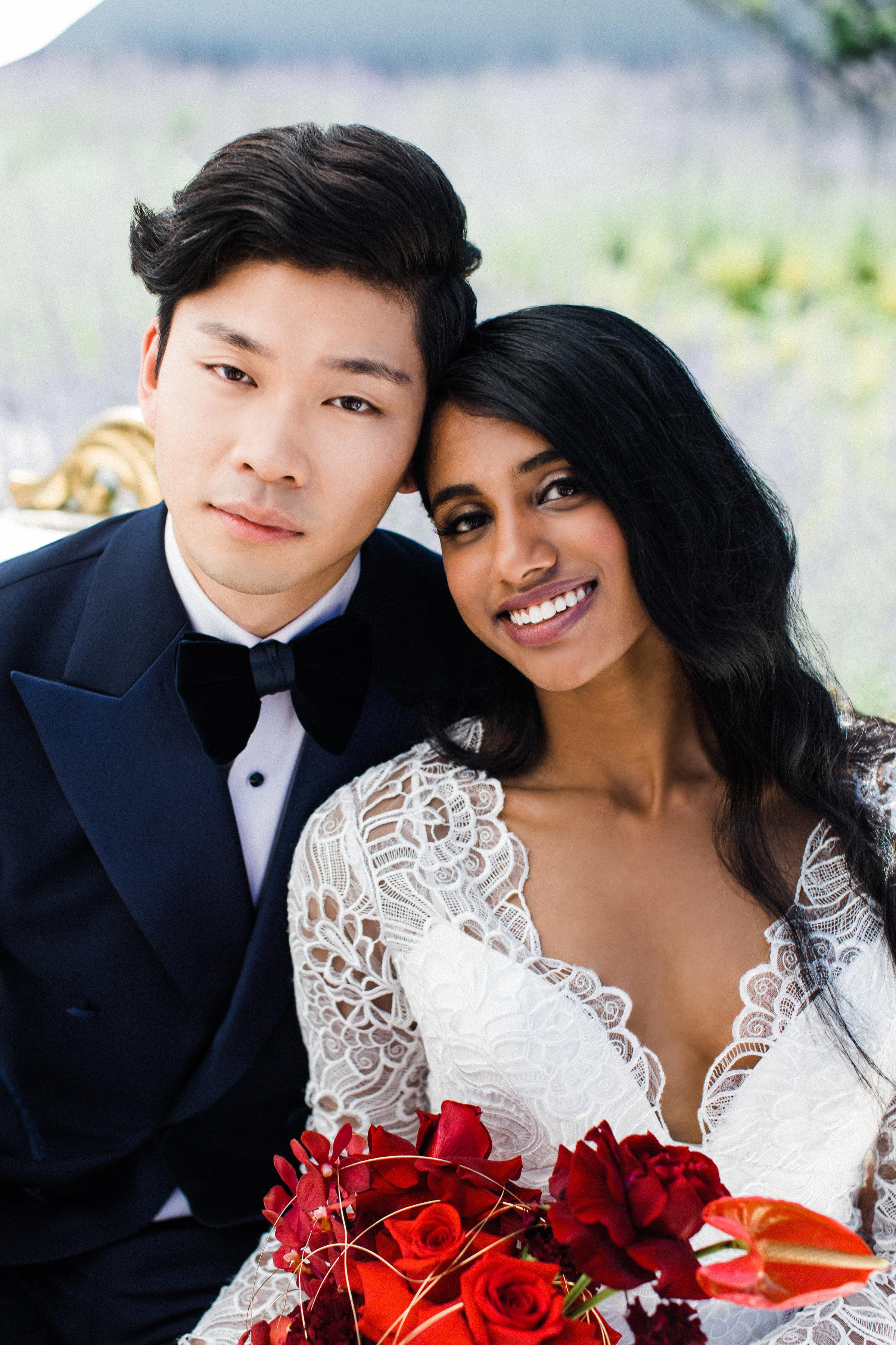 August In Bloom - Smiling bride and groom - Scarlet Sweetheart (Lavish Dulhan)