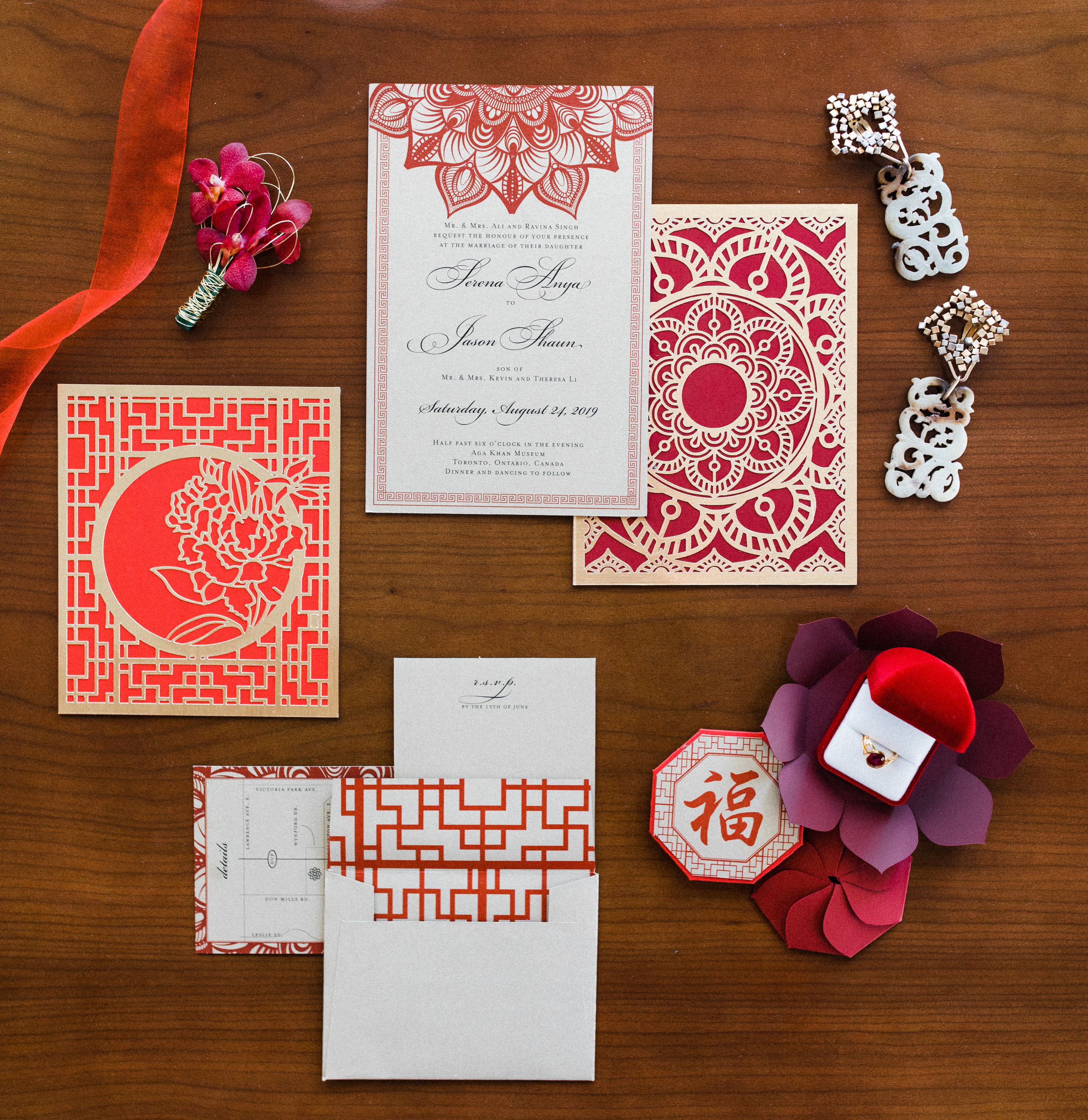 August In Bloom - Invitation Suite Flatlay - Scarlet Sweetheart (Lavish Dulhan)