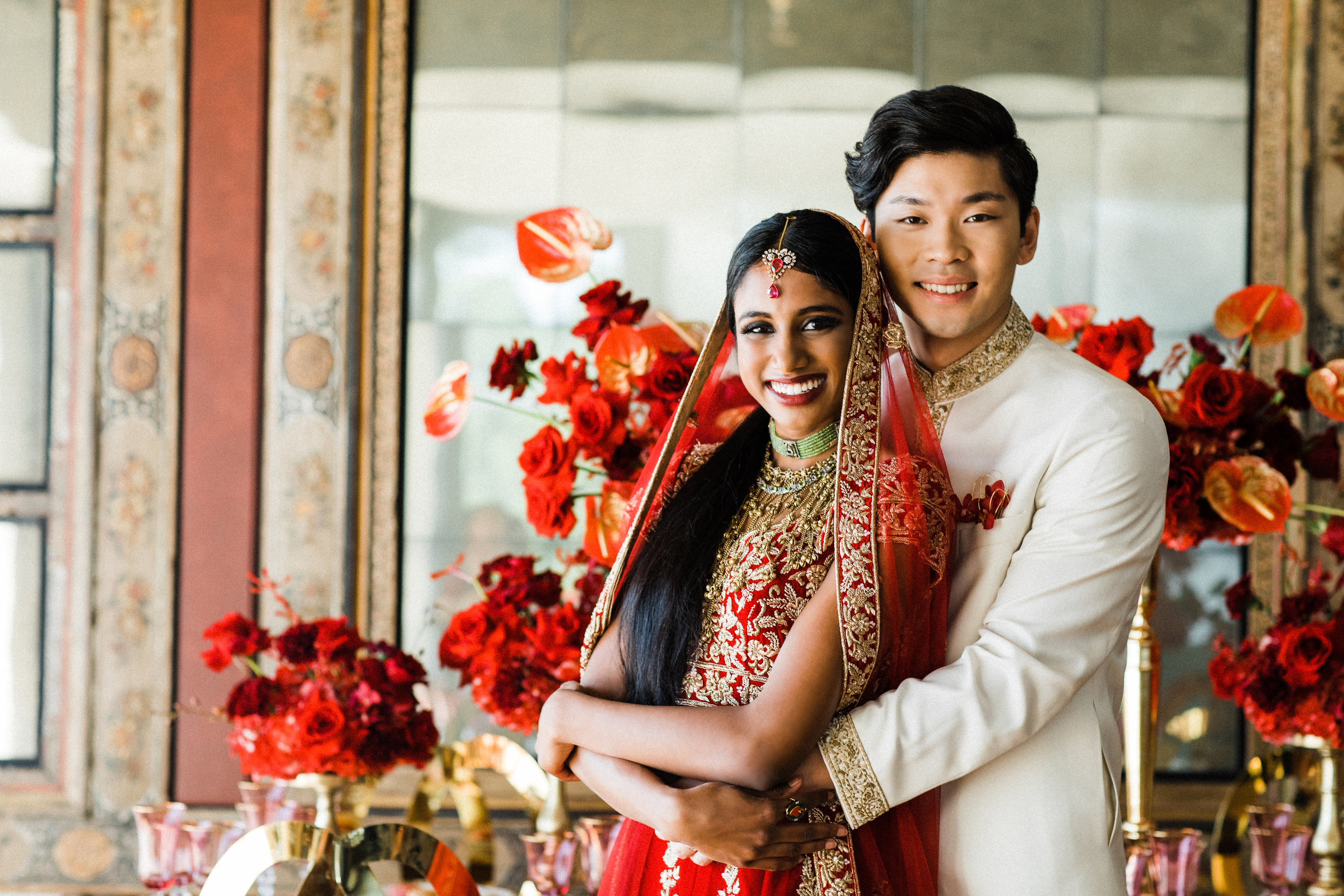 August In Bloom - Bride and groom at reception - Scarlet Sweetheart (Lavish Dulhan)