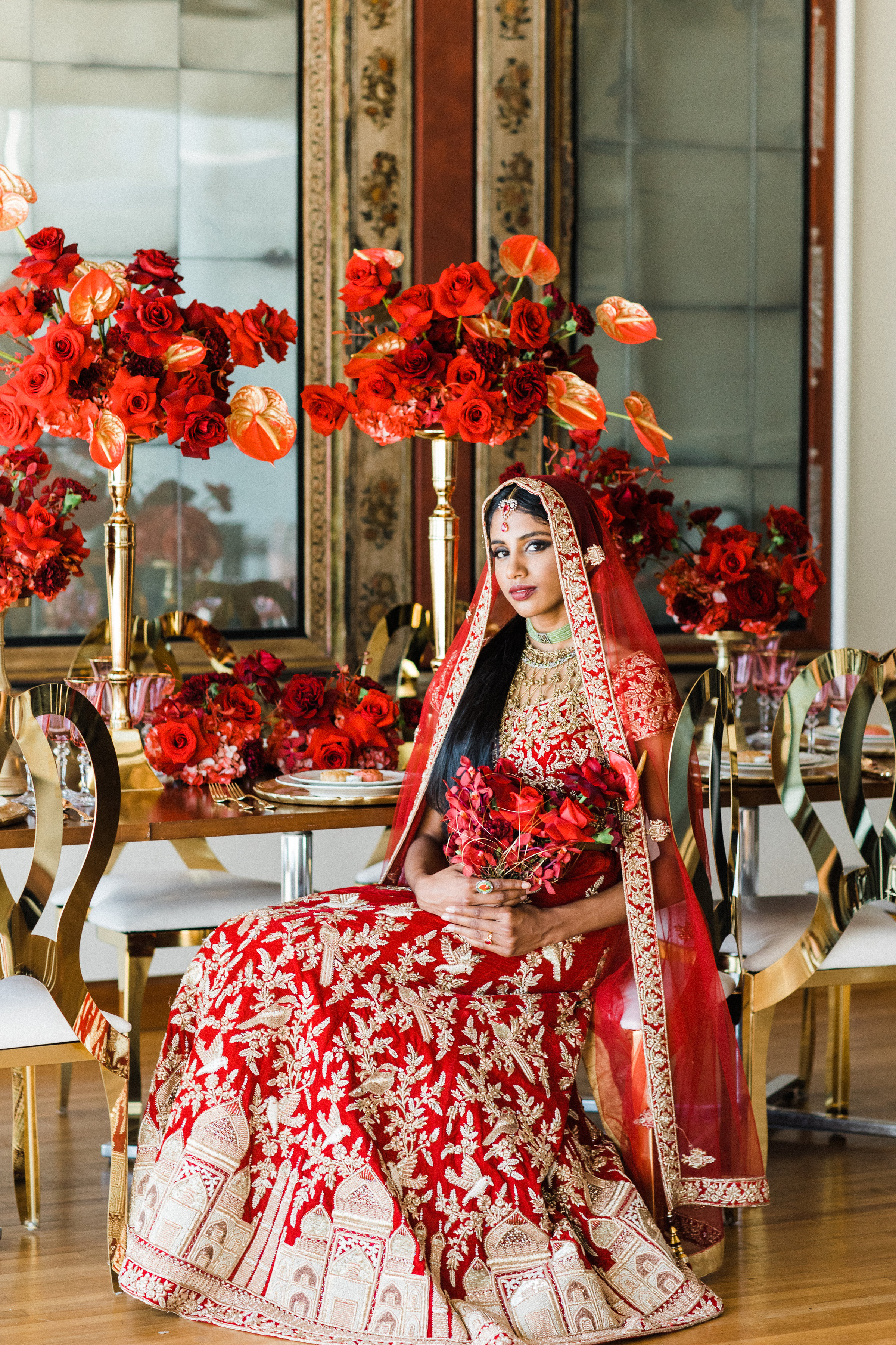 August In Bloom - Bride at reception - Scarlet Sweetheart (Lavish Dulhan)