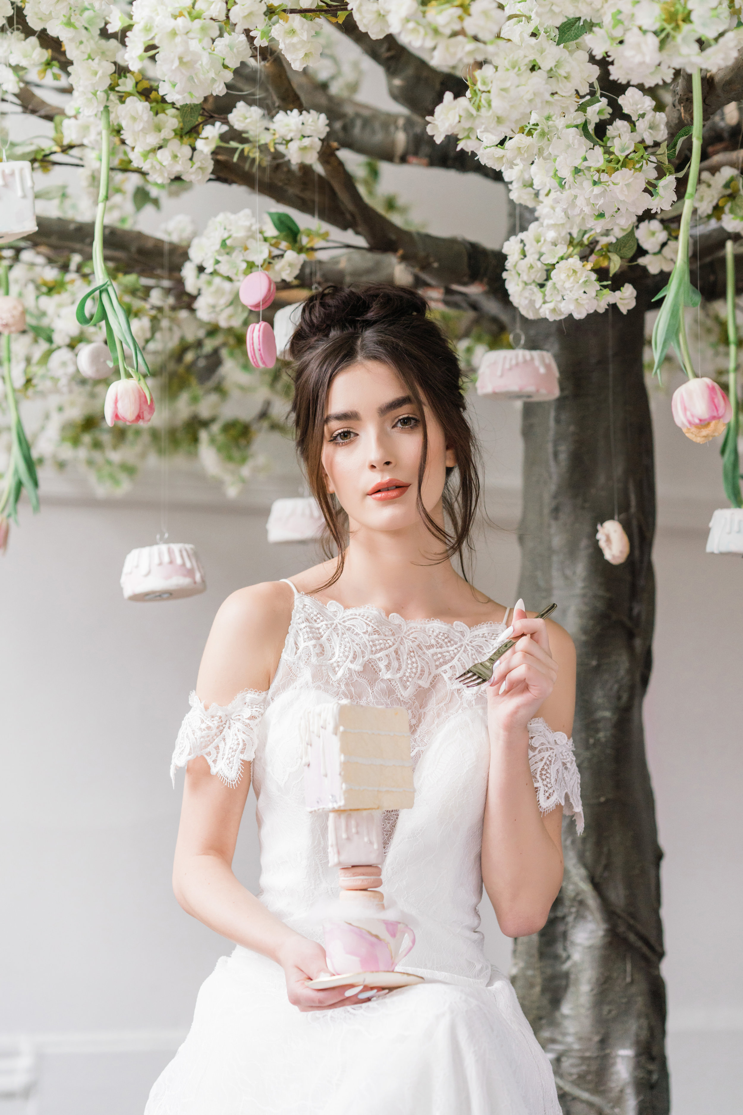 August In Bloom - Bride Holding Dessert - Serene Dream