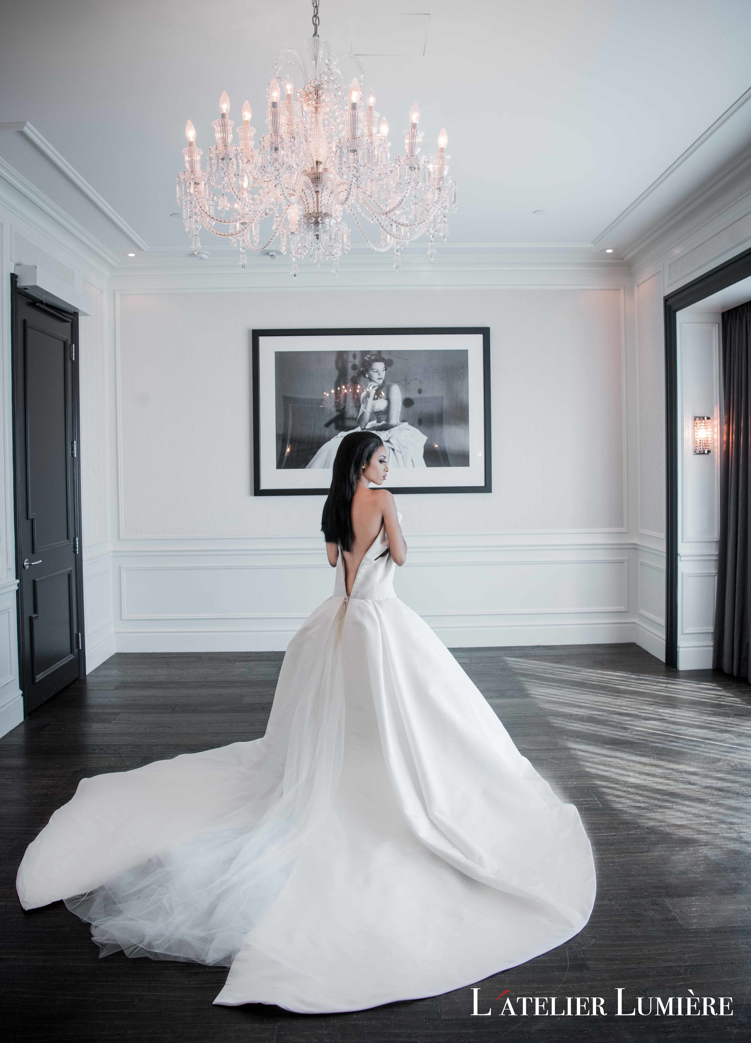 August In Bloom - Bride in Dress with Long Train - RiRi