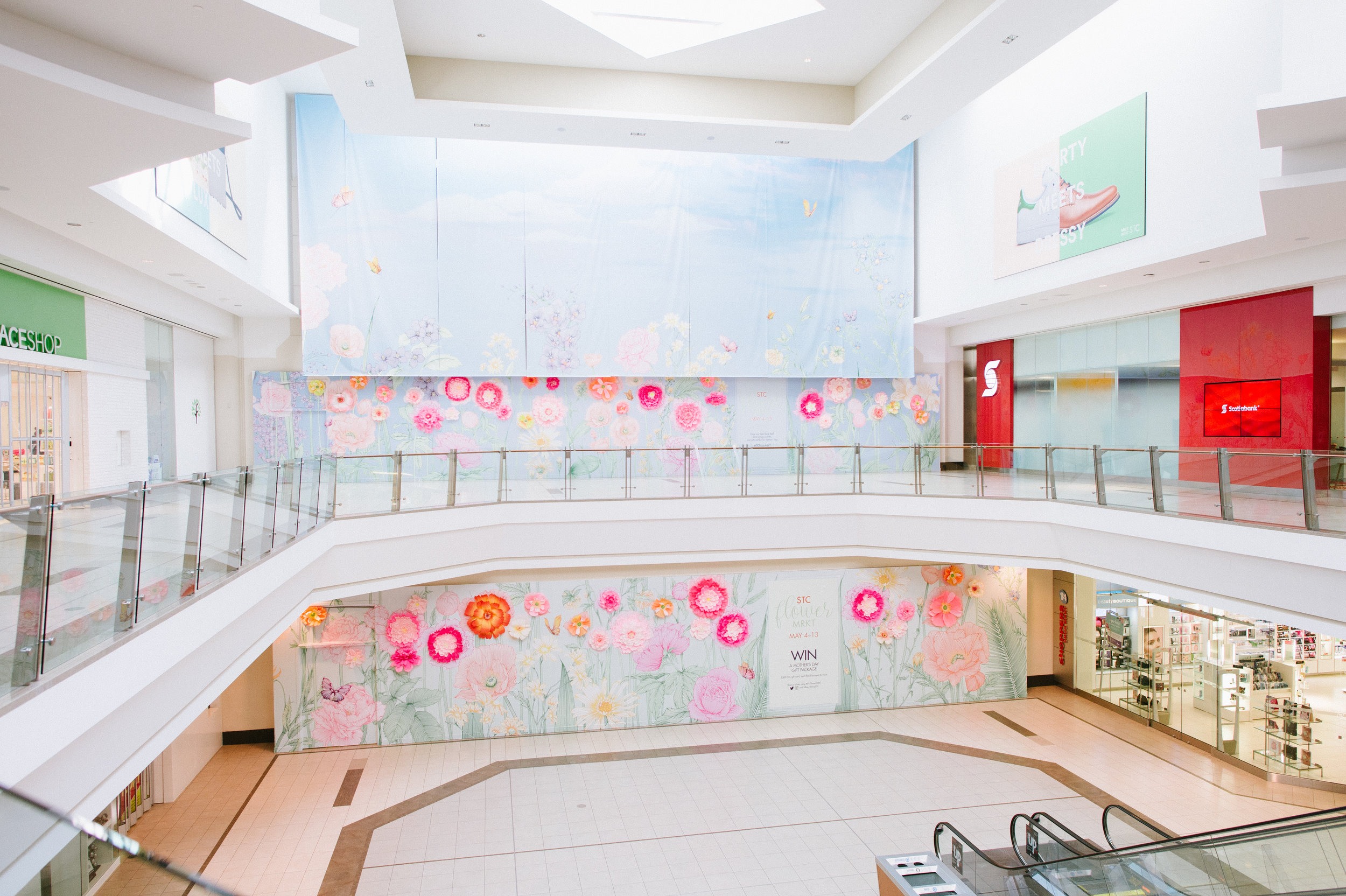 August In Bloom - Full installation - STC Spring Bloom Wall (Scarborough Town Centre)