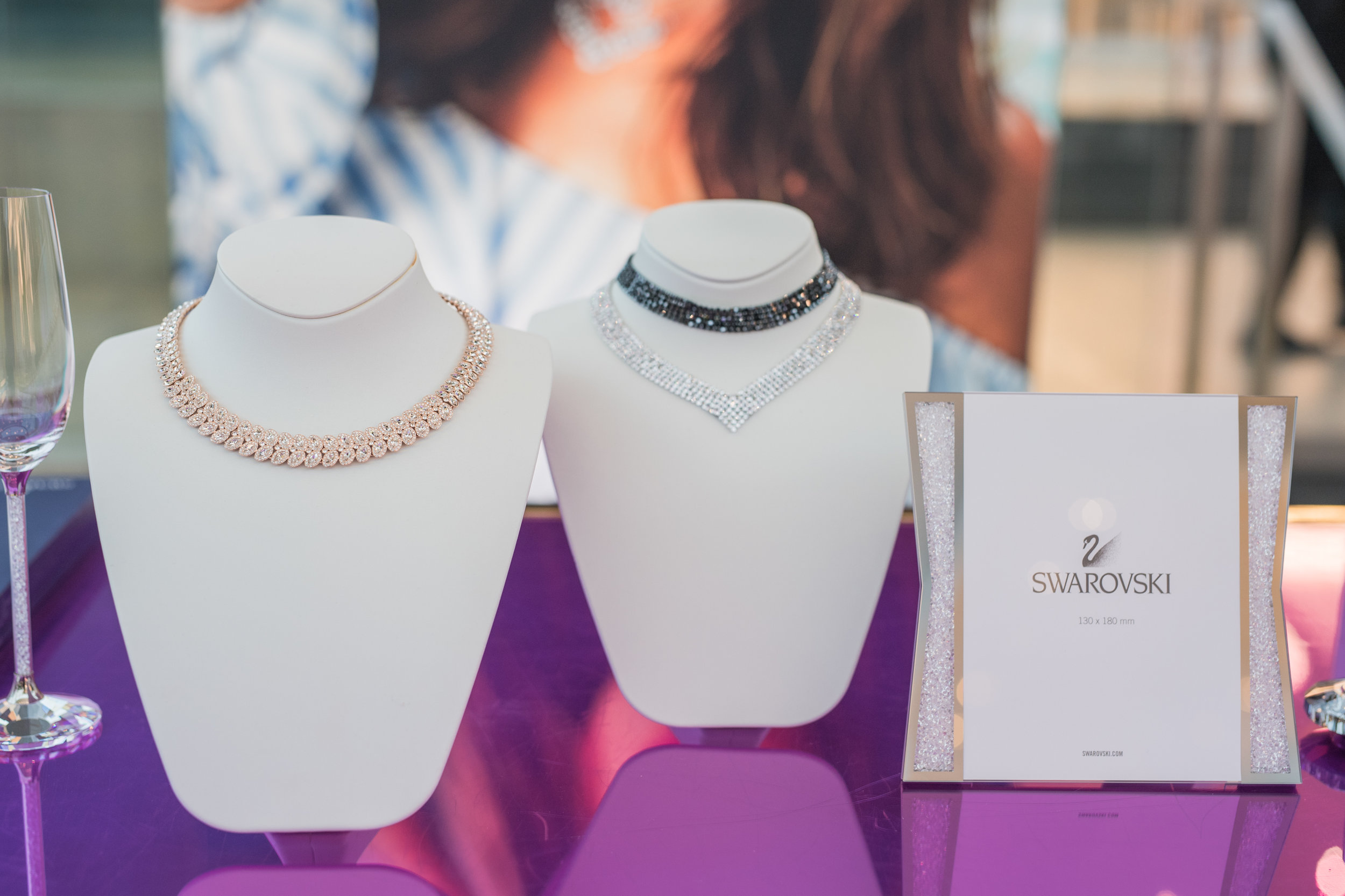 August In Bloom - Swarovski necklace display - #SQ1Bridal (Square One Shopping Centre)
