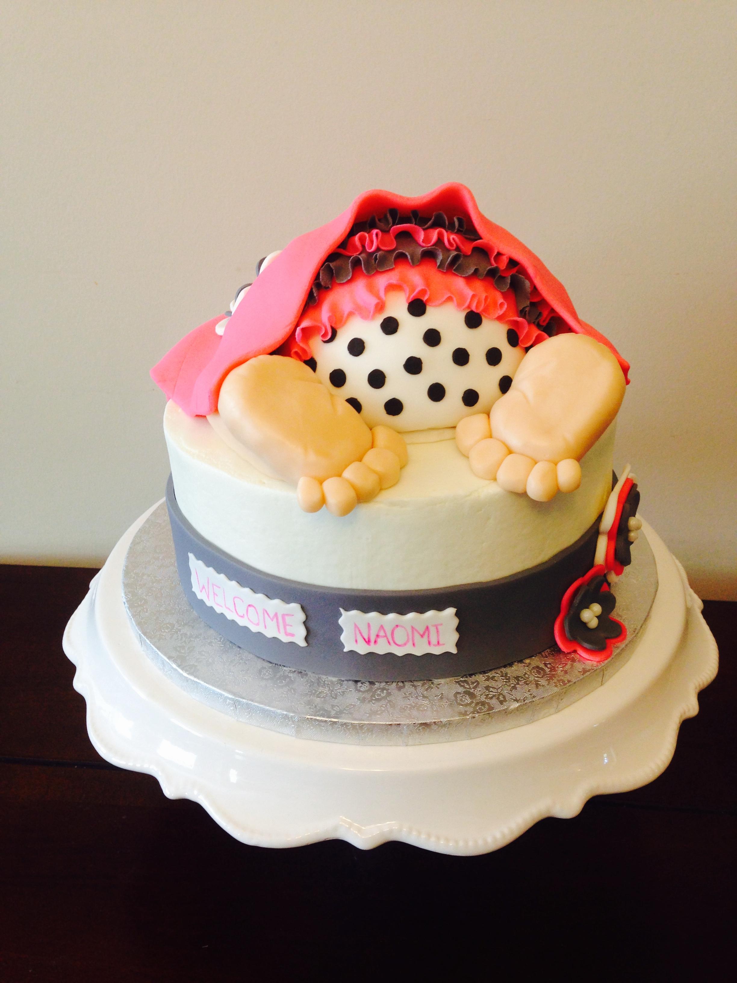 Pink & Grey Baby Bum Cake