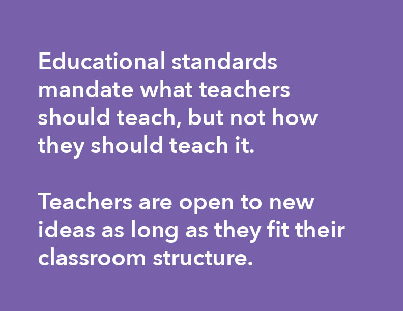 I identified the opportunity area - that new ideas are welcome as long as they fit classroom structures.