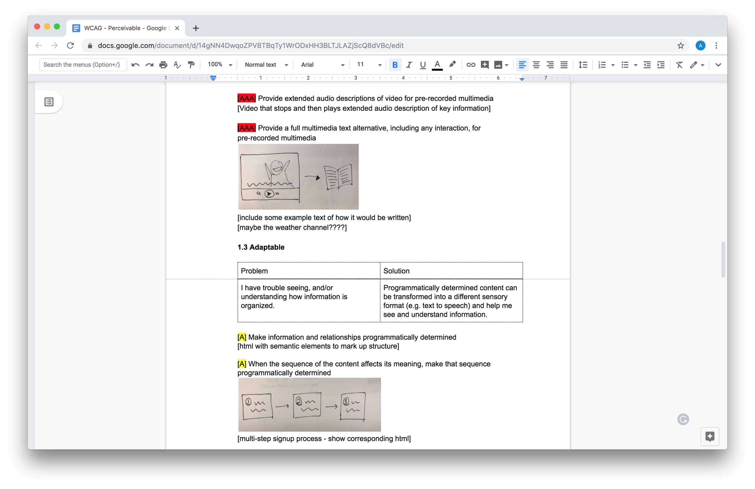 "Screenshot of google doc showing my original notes for the ""Perceivable"" section. Included are color-coded highlights for WCAG conformance levels (A, AA, AAA) and photographs of hand sketches intended to communicate the idea of drawings. To access the full text in a non-image format, go to this  google doc ."