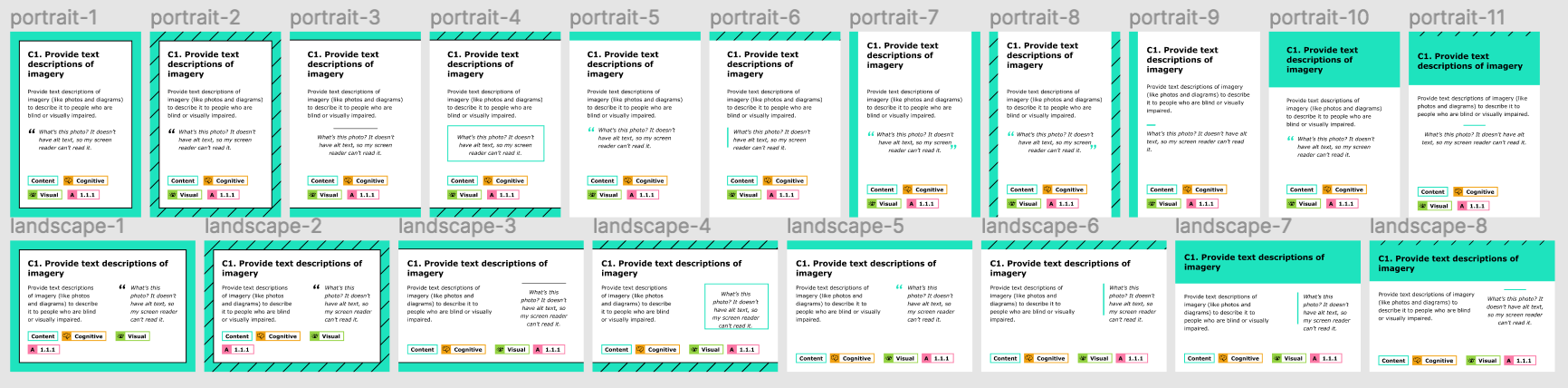 Screenshot of 11 different iterations of the card format, with the first design on the left and the final one on the right. These iterations show different options for format, amount of color, what section to emphasize, and options for portrait and landscape. To access this information in a non-image format, go to this  figma file 's cards & illustrations page.