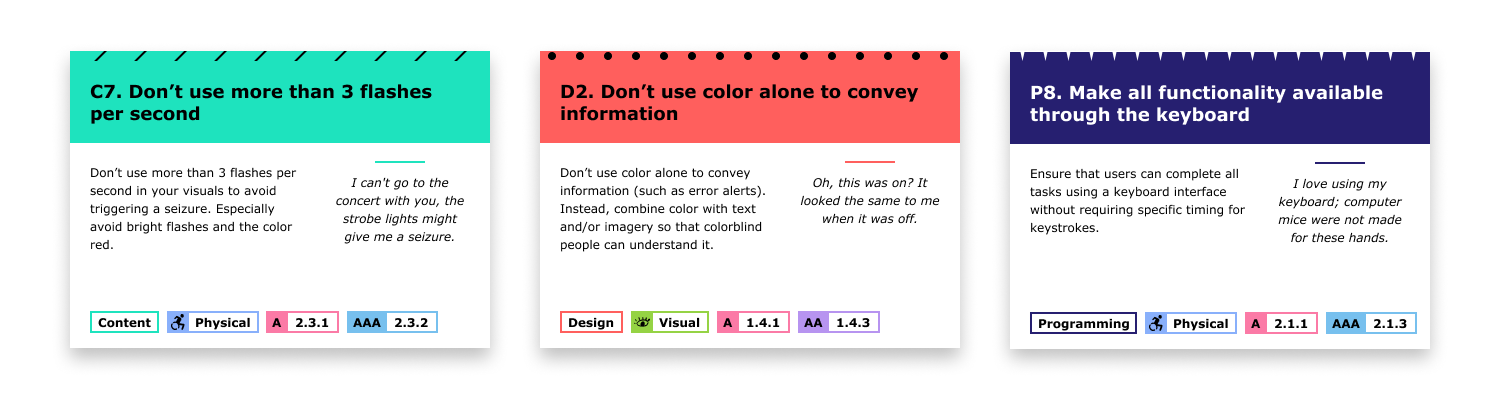 Image of final design for Content (blue with diagonal lines), Design (red with dots), and Programming (dark purple with downward spikes). Each card has a title, description, quote, and tags.To access this information in a non-image format, go to this  figma file 's cards & illustrations page.