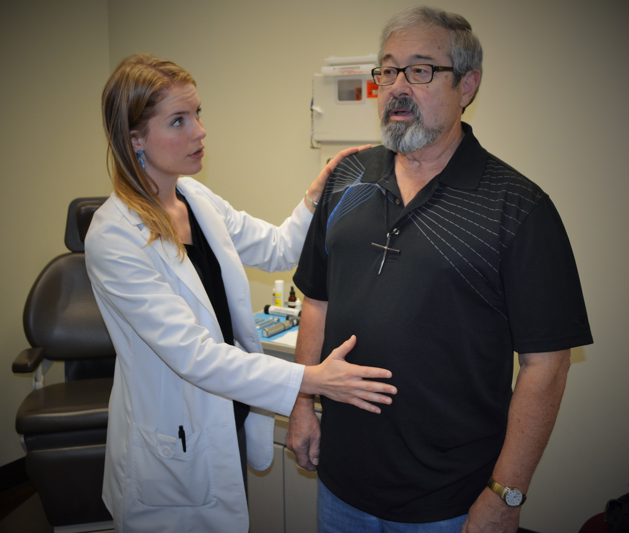 A patient learns the basics of proper breath support for speaking