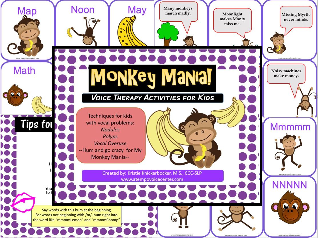 It's  Monkey Mania! Swing from Tree to Tree keeping your resonant and buzzy voice