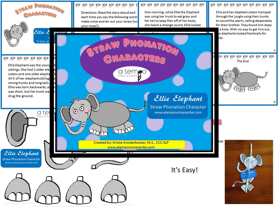 Ellie Elephant  is the first of the Straw Phonation Characters with a long trunk