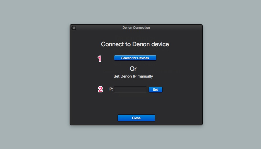 Denon connection window (click to enlarge)