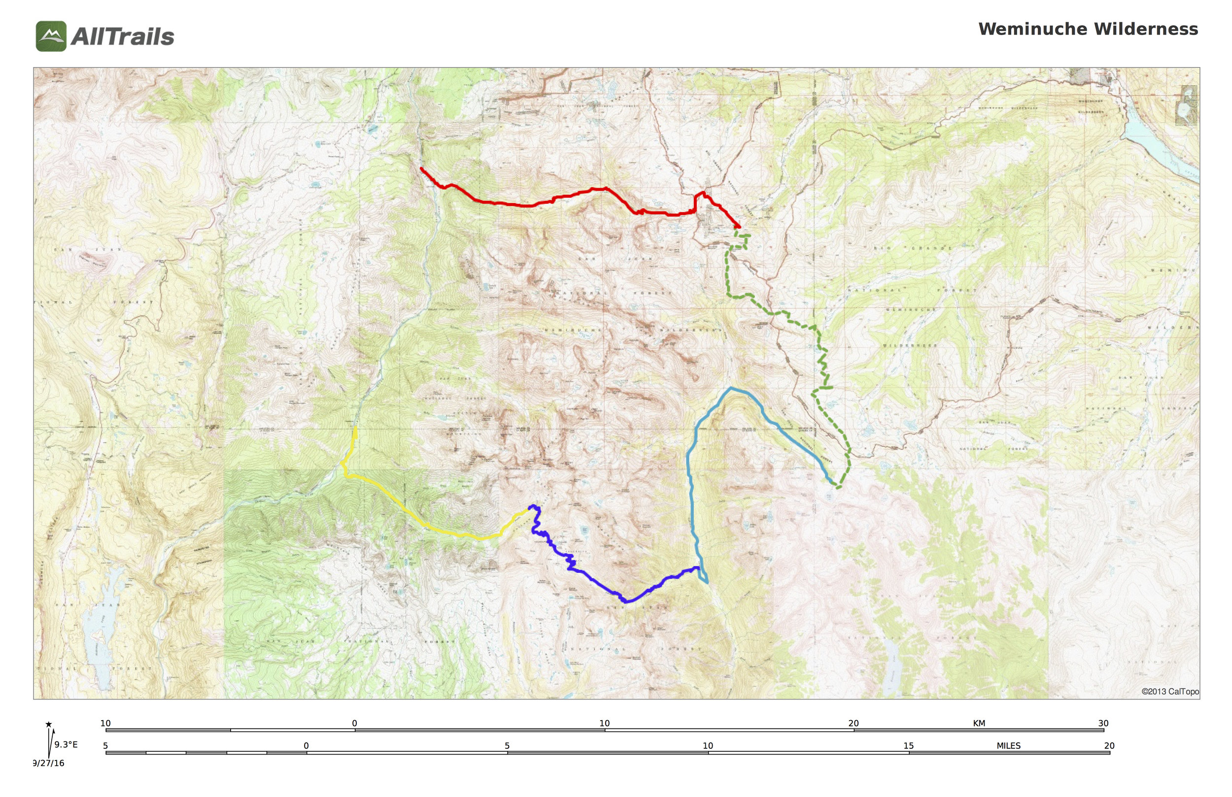 Our original route, which we ended up sticking to for the most part, save for some extra milage on day 4.