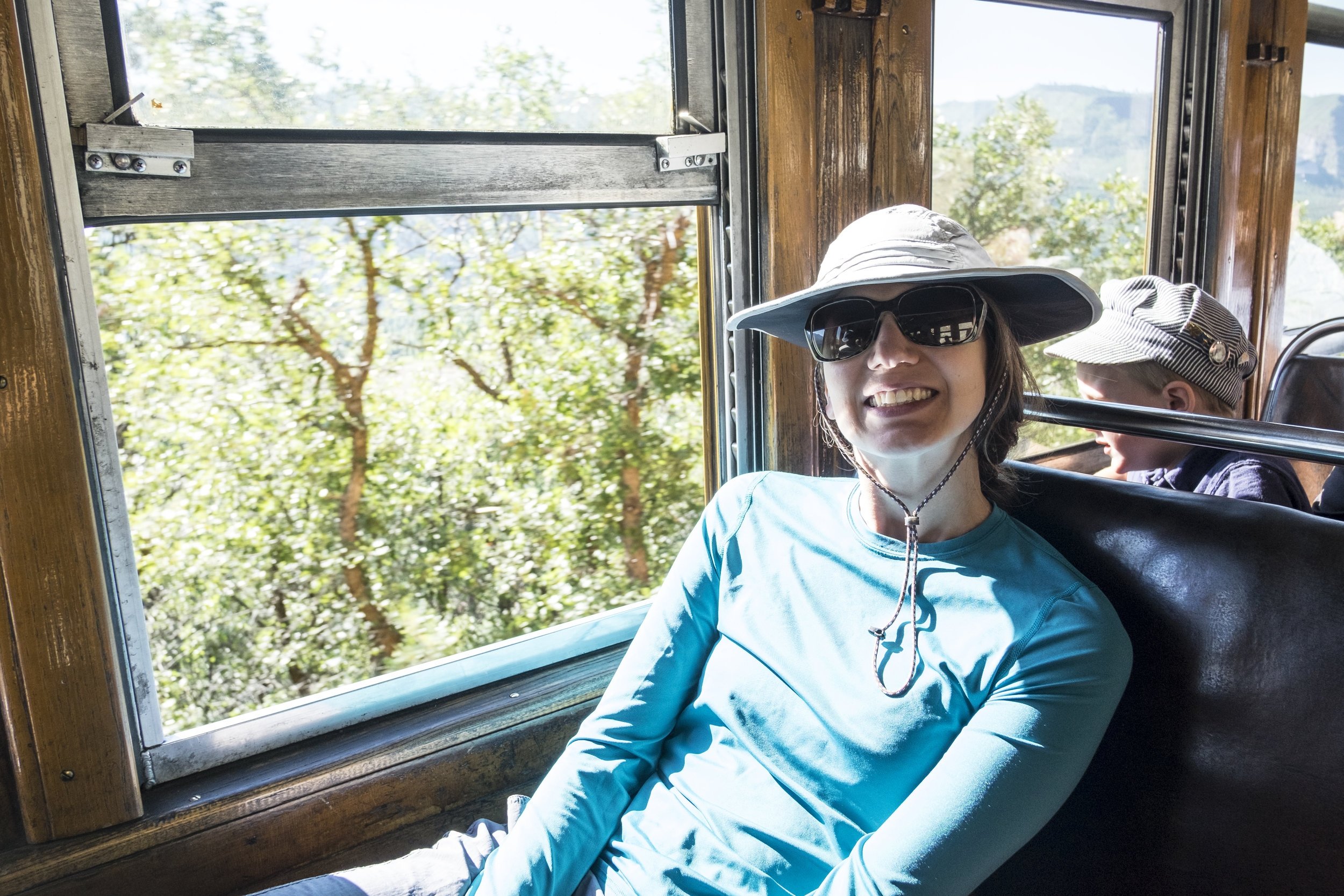 Gabs enjoys the view of the Animas River from the train car.
