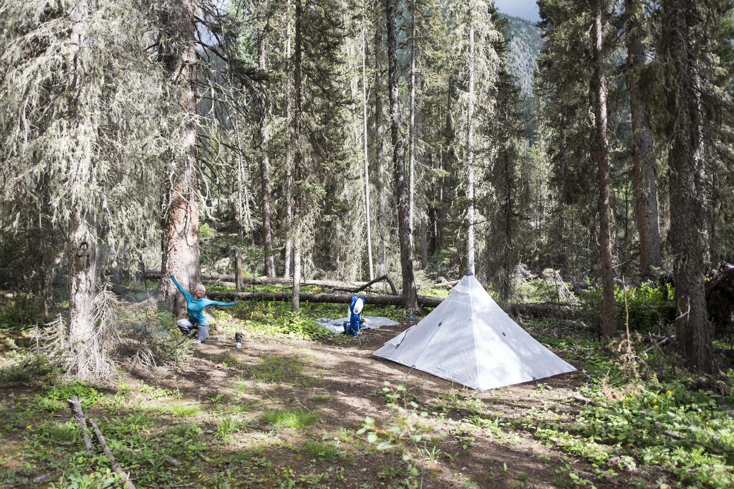 "Camping somewhere south of ""beaver pond."""
