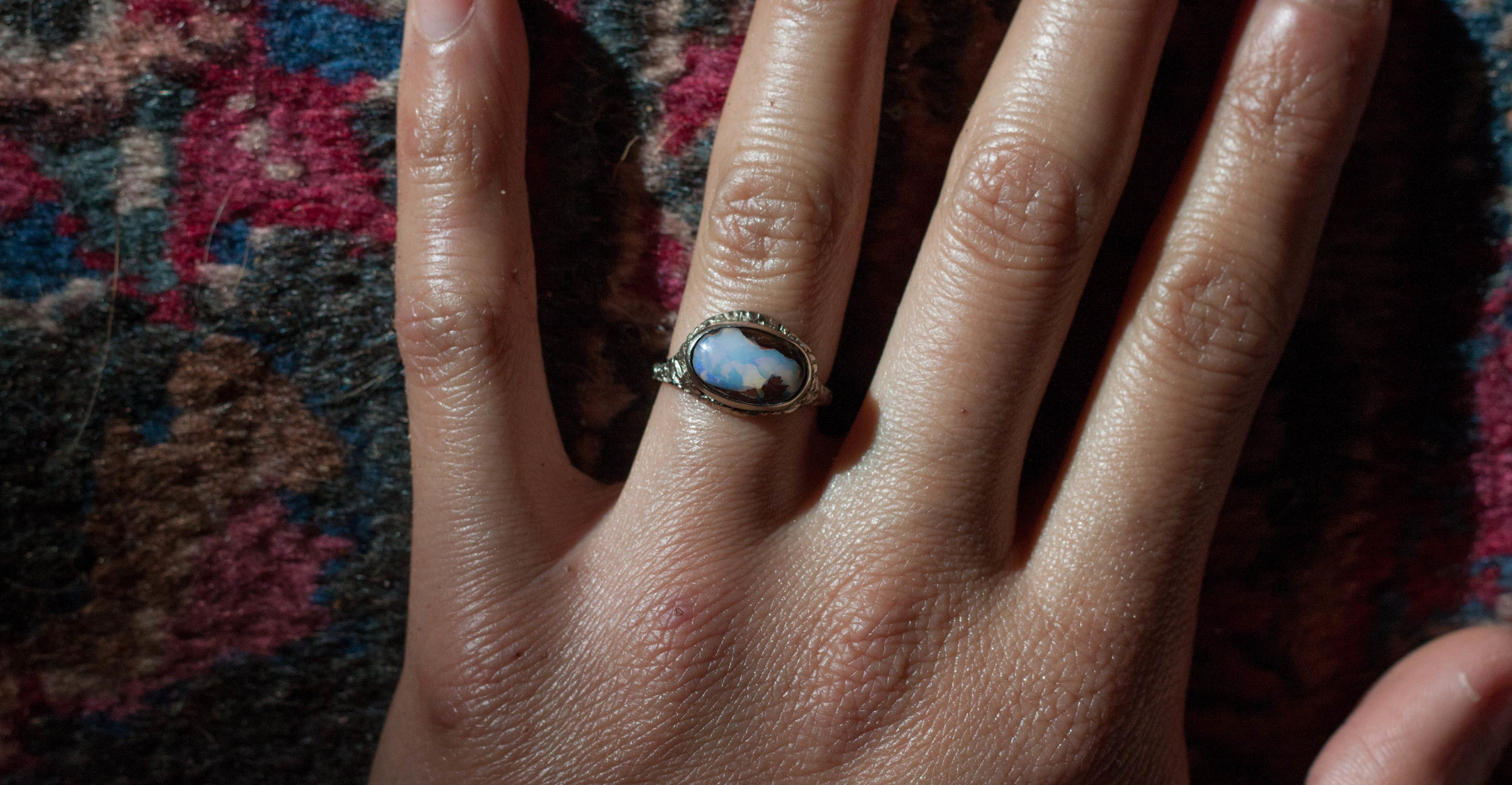 Boulder Opal set in recycled 14k gold -