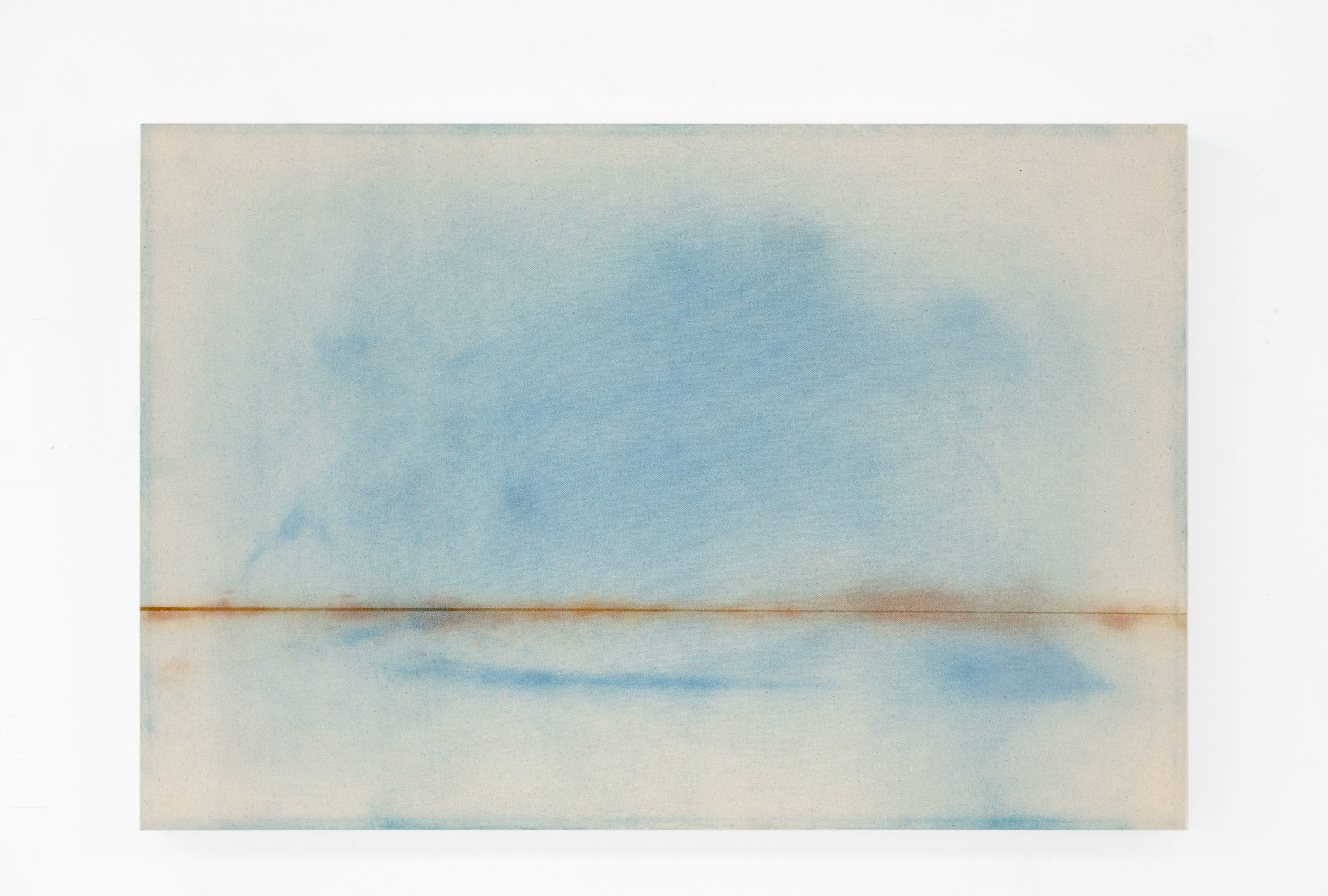 Sally Scopa.  All the Oceans,  2018. Pigment scraped from oceans of two world maps on canvas.