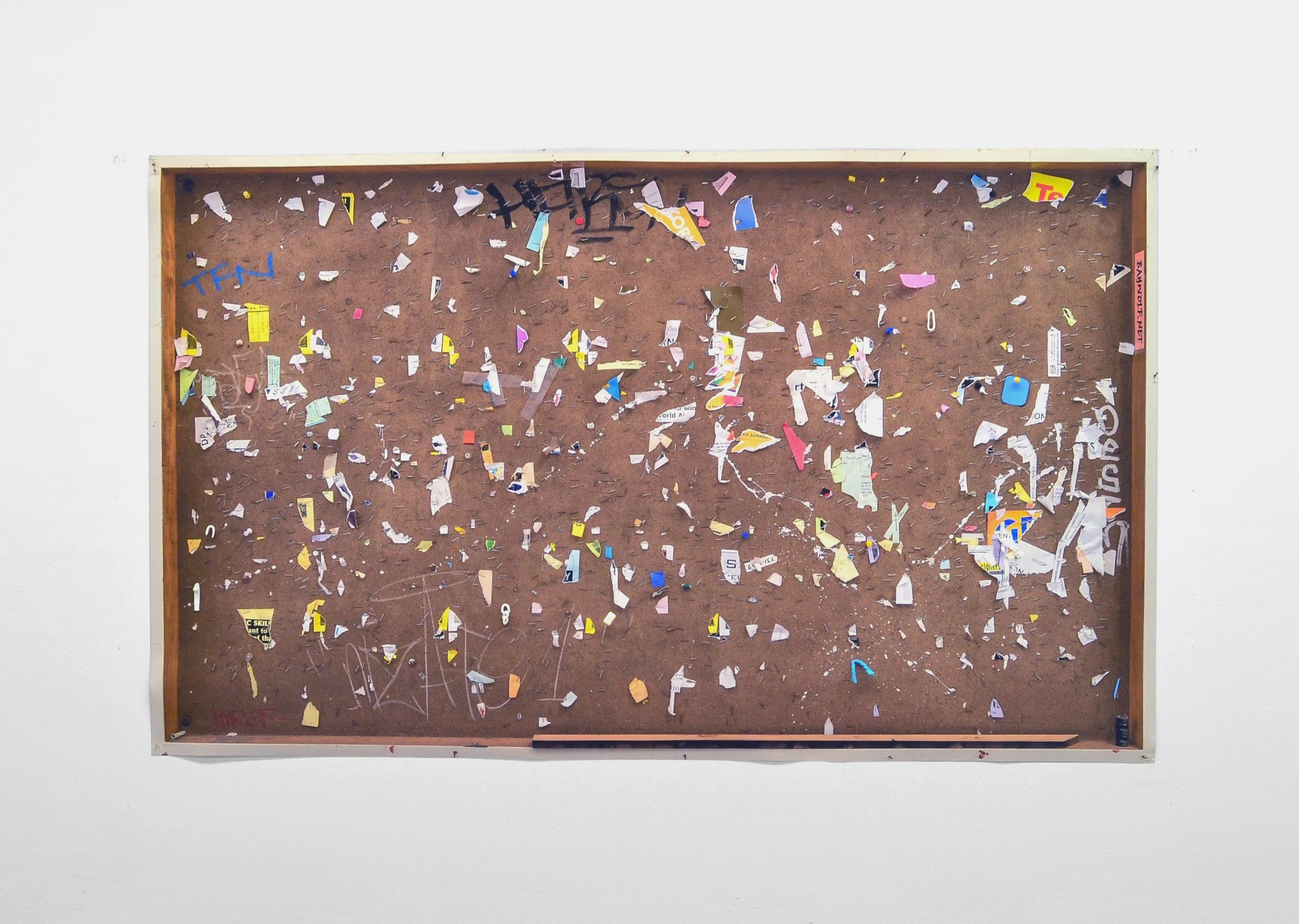 Image: Natasha Loewy.  Bulletin Board , 2019. Paper, pins, nicorette, and clay on inkjet photo. (Photo credit: Nathan Kosta).
