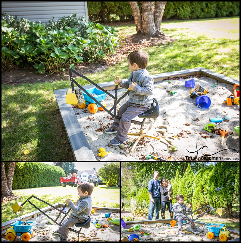 Henry was definitely in the excavating mode while Mom, Dad and Brother watched.