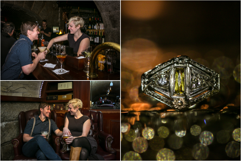 Where it all began! The Tunnel Bar offers an amazing ambiance. and the BLING! Such a unique and classy engagement ring!