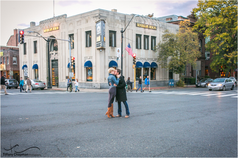 Kate's fun idea -Why not kiss in the middle of the crosswalk in Northampton in front of where Ayn got Kate's ring!
