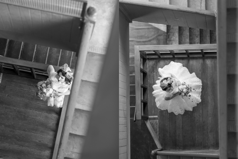 Mill 1 at Open Square has this amazing stairwell with the most dreamy light - we just had to photograph our bride having some fun here!