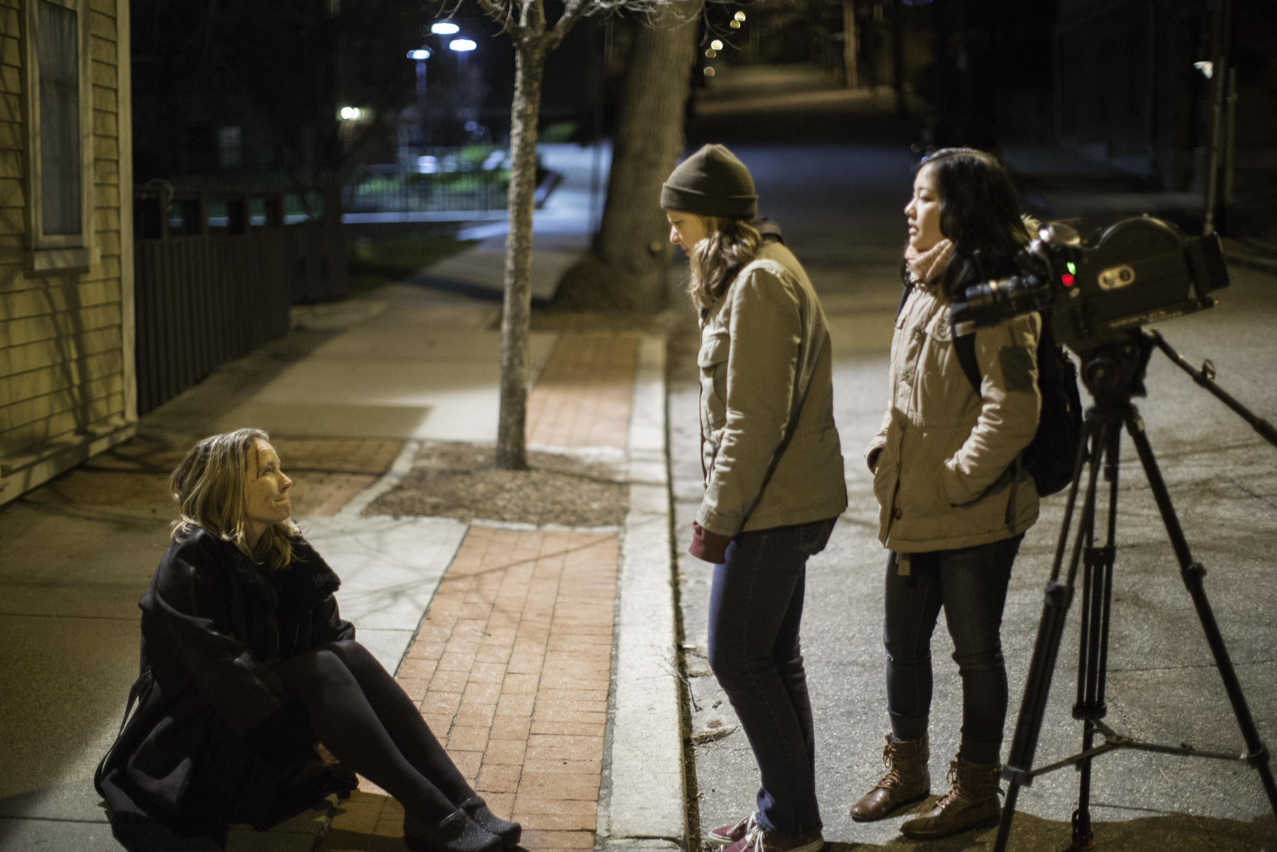 BTS Photography: Director Abbey Killheffer talking with the actors, 2014.