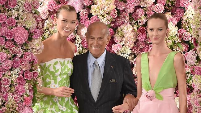 Oscar De La Renta with models at this fashion show this year in New York City. Photo: Slaven Vlasic/Getty Images   Source: Getty Images