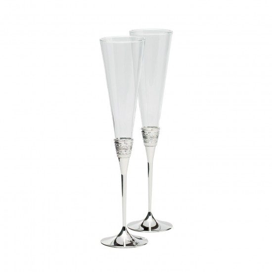 With Love Silver Toasting Flutes, Pair