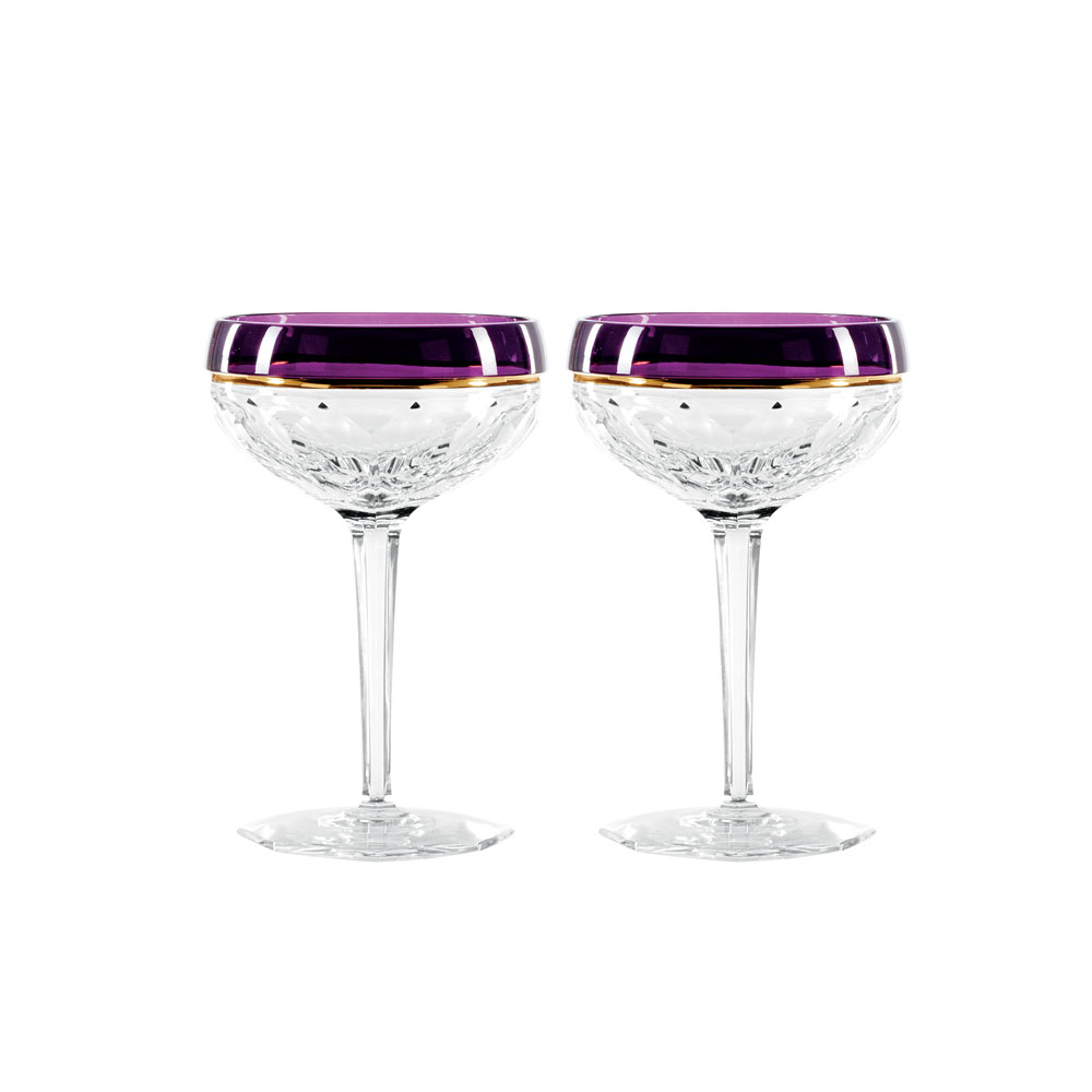 Waterford Crystal Elysian Champagne Coupe Pair Amethyst