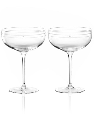 KATE SPADE DARLING POINT CRYSTAL CHAMPAGNE GLASSES