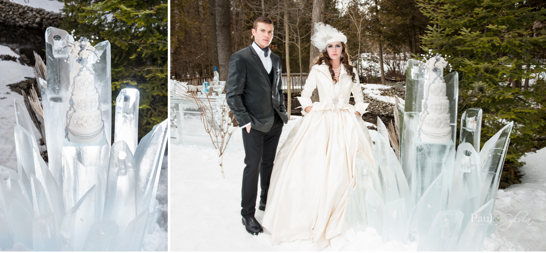 Whimsical wedding cake on ice stand in Muskoka wedding.jpg