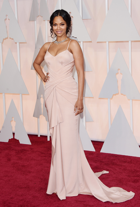 Zoe Saldana in Atelier Versace:  The slight train and figure-flattering features of this blush gown makes it an exceptional choice for brides who want something a little simpler. Perfect for a spring or summer bride.