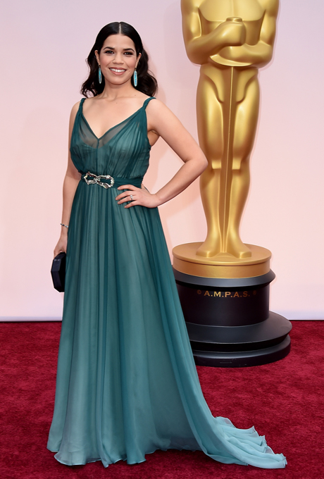 America Ferrera in Jenny Packham: Jenny Packham always creates exceptional bridal designs and this is no exception. The delicate ombre gown has hues of forest green and complimented with a crystal belt.