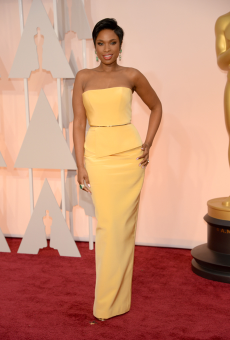 Jennifer Hudson in Romona Keveza: Here it is summertime bridesmaids! This stunning hip-hugging number is perfect for all shapes and sizes.