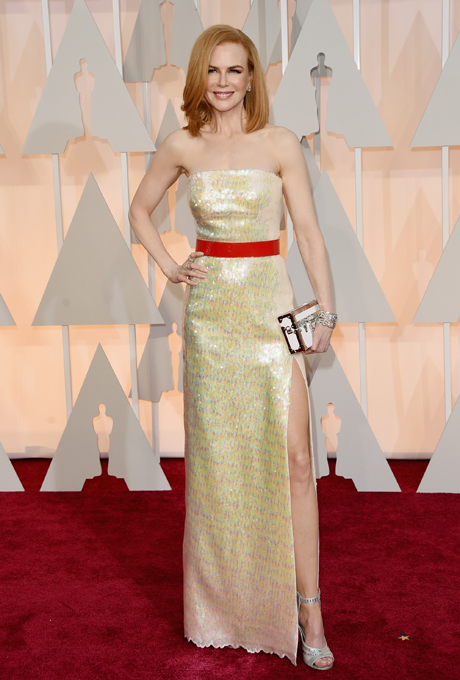 Nicole Kidman in Louis Vuitton:  The golden-hued dress had the perfect amount of pop with the stunning orange sash and uneven hem. We think this number could be perfect for a gorgeous summer wedding. The high split may need to be adjusted for the more conservative mothers.