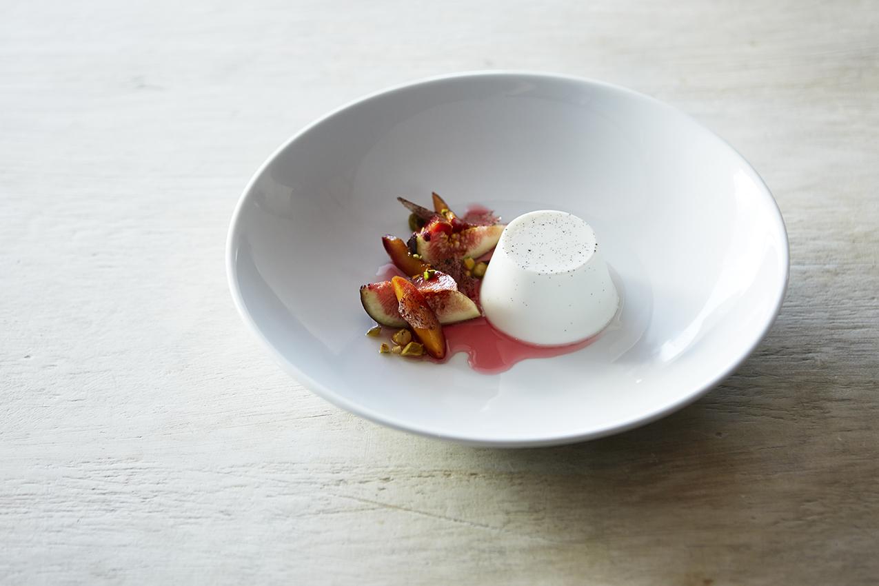 Coconut pannacotta, plum, pistachio and rhubarb glass.jpg