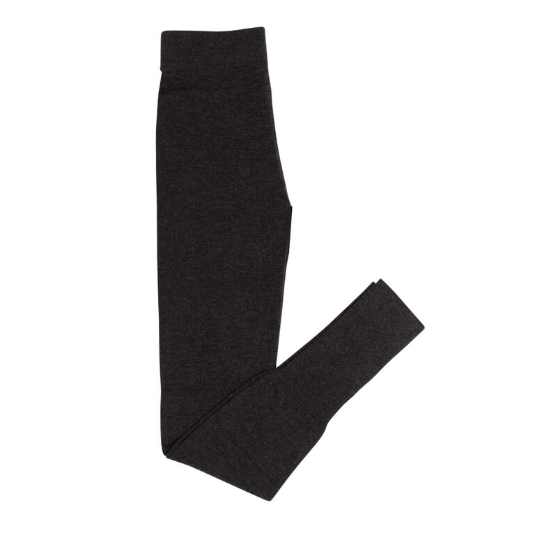 100% Merino Leggings In Charcoal     Extra long super soft leggings. Features: signature sassind ribbed ankle detail, perfect for pulling down over your heels for extra warmth. A great layering piece that works well with both our silk blouse, or layered with our cotton shift dress. Add the merino wrap to complete your inflight outfit.