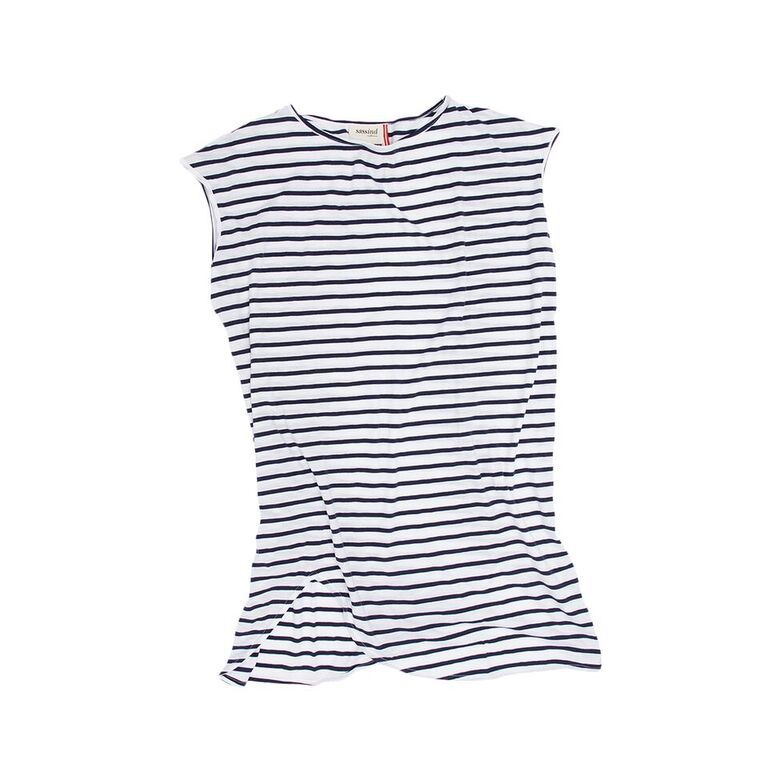 100% Cotton Jersey Shift Dress In French Navy And White Stripe     A great layering piece. Features: doubles as a nightie with a capped sleeve, boat neckline and skewed hemline. Also a great throw over for bathers, and works beautifully layered over leggings with oversized merino wrap. Pair with the gold ballet slipper for a fresh daytime look.