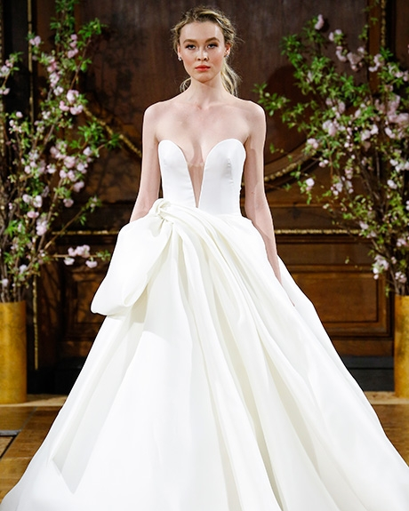 """""""Brett"""" strapless deep V-neck ball gown with draped and bowed skirt,   Isabelle Armstrong 