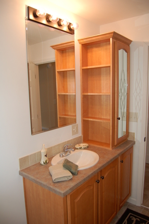 MAIN BATH W/COUNTERTOP CABINET UNIT & SHELVES (HONEY STAINED MAPLE CABINETRY)