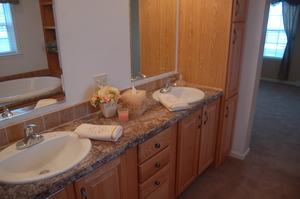 MASTER BATH DOUBLE VANITY & LINEN CABINET (NATURAL OAK CABINETRY)