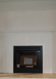 WHITE FINISHED MAPLE WOOD FIREPLACE SURROUND W/FLAT HEARTH